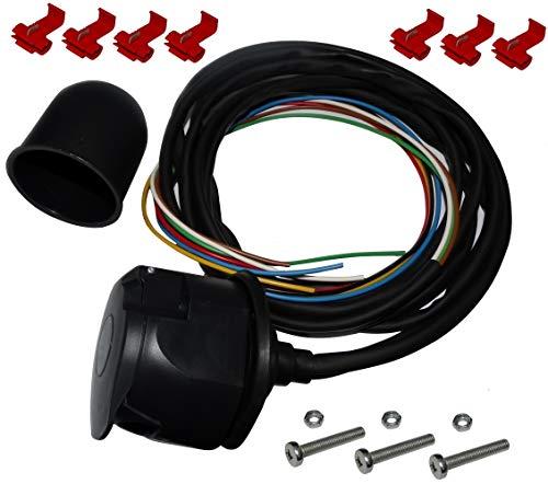 AERZETIX: Kit de Enchufe para Remolque con Cable 2m 7pines 12V Bola de Laton C12385
