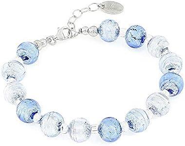 Venetiaurum - Pulsera para mujer con perlas de 10 mm de cristal original de Murano y plata 925 – Fabricado en Italia con certificado