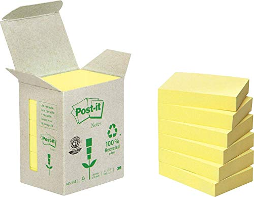 Post-it 6531B Haftnotiz Recycling Notes Mini Tower (38 x 51 mm, 80 g/qm) 100 Blatt 6 Block gelb