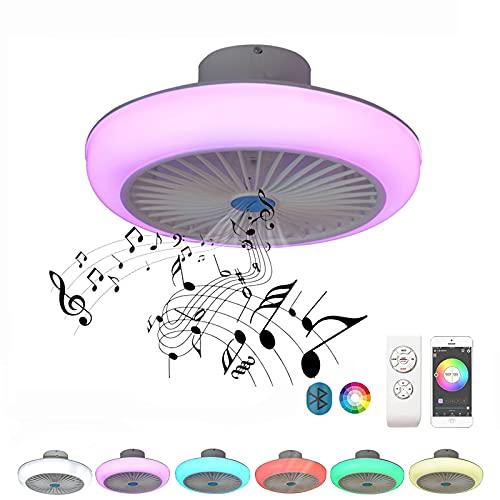 LED 36W Ventilador Lámpara de Techo Con Bluetooth Altavoz Música Luz de Techo RGB Ventilador de Techo Con Iluminación Control Remoto Y APP Regulable Redondo Cuarto Silencio Luz del Ventilador