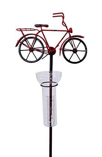 Amicaso Regenmesser Fahrrad Niederschlagsmesser Gartendeko aus Metall Echtglas Wetterstation