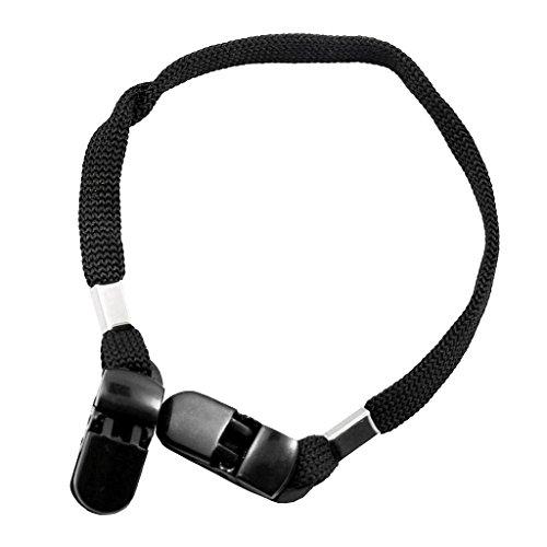 Gazechimp 9mm Cordon Pince Clip pour Fourlard Echarpe Chapeau Anti Vent en Plein Air - Noir