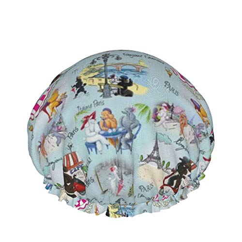Gorro de ducha reutilizable, con doble capa exterior impermeable para todas las longitudes de pelo (caniche perro Paris Collage)