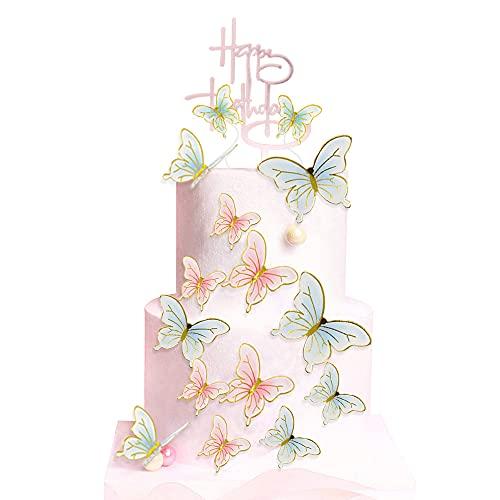 Adornos para Tartas, 16 Adornos para Tartas de Cumpleaños con Forma de Mariposa con Adorno para Tarta de Feliz Cumpleaños, Púas para Cupcakes de Mariposas para Fiestas de Cumpleaños, Bodas