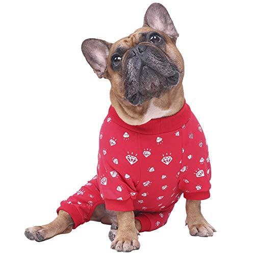 ICHOUE Rich Dog Series Pet Clothes Pajama Jumpsuit PJS Shirt Puppy French Bulldog Pug Boston Terrier T-Shirt - Red Diamond S