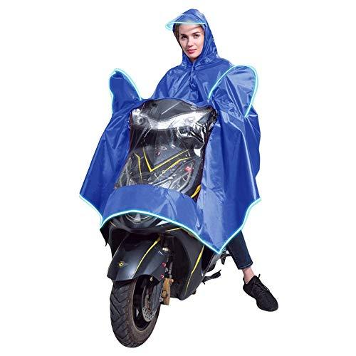 gshhd88 Poncho de lluvia para adultos, a prueba de viento de ciclo impermeable de la motocicleta Vespa lluvia con capucha Azul