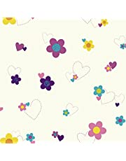 York Wallcoverings Walt Disney Kids II Flower and Hearts Wallpaper Memo Sample, 8-Inch x 10-Inch, White/Pinks/Purple/Yellow/Teal