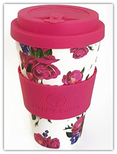 ROSES von Happy Earth (Wiederverwendbare Öko-Kaffeetasse 450ml, mit Bio-Bambus Naturfaser, kann als Reisebecher oder Kaffee-Tasse zu Hause verwendet werden)