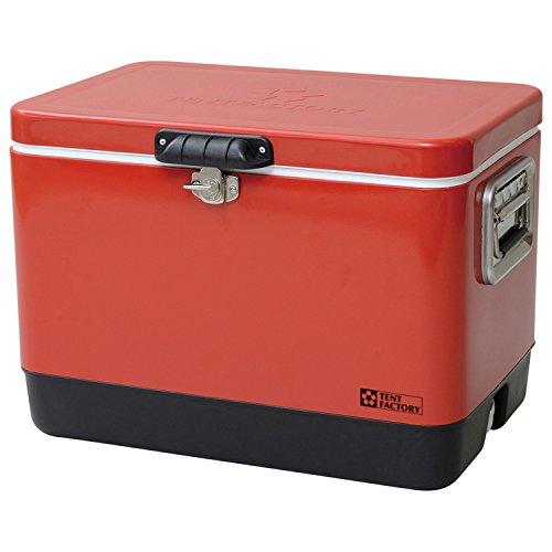 テントファクトリー クーラーボックス メタルクーラー スチール ボックス 51L RED レッド メタルハンドル/...