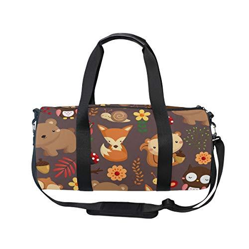 MNSRUU Fox Bear Forest Animal Große Reisetasche Übernachtung Duffel Bag Unisex Hohe Kapazität Großes Gepäck Sport Gym Bag