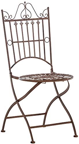 CLP Stuhl Sadao I Klappbarer Gartenstuhl mit edlen Verzierungen I Lehnstuhl aus Eisen I Klappstuhl, Farbe:antik braun