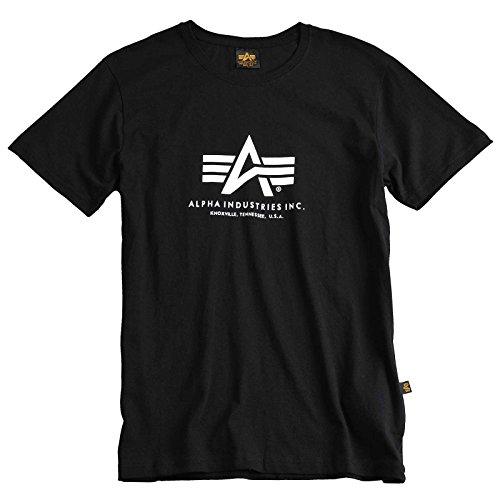ALPHA INDUSTRIES Basic T-Shirt mit Logo Brustdruck 100% Baumwolle 100% Alpha Flag am Ärmel, Größe:XXL, Farbe:Black