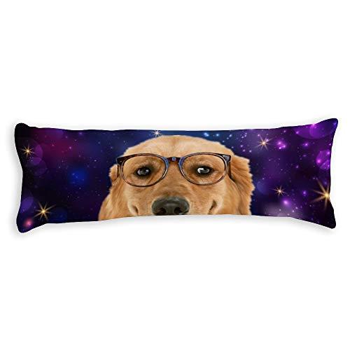 pealrich Fundas de almohada para pelo y piel de 50 x 60 cm, perro con gafas decorativas lumbar, fundas de cojín para sofá, dormitorio, coche