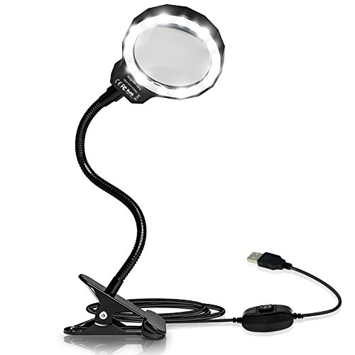 Number-One Magnifying Glass, 3X LED Lighted Magnifying Lamp USB Powered Clip On Optical Glass...