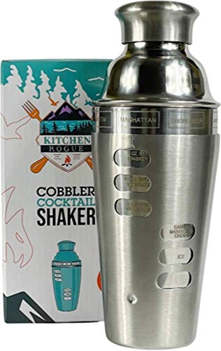 Cocktail Shaker with Recipes on Side and Strainer Built-in - Stainless Steel - Essential Bar Accessories - Professional Mixology - Martini - Margarita - Mojito - Drink Mixer for Home and Travel