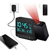 Dr. Prepare Projection Alarm Clock, Digital Clock Projector with Indoor/Outdoor Thermometer Hygrometer, USB Charger and AC & Battery Operated, Dual Alarm Clocks for Bedroom with Weather Forecast
