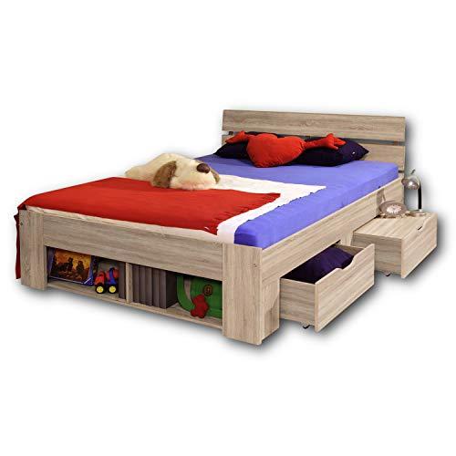 PINTO Stilvolles Kojenbett 140 x 200 cm - Komfortables Jugendzimmer Doppelbett in Eiche Sonoma Optik - 145 x 86 x 204 cm (B/H/T)