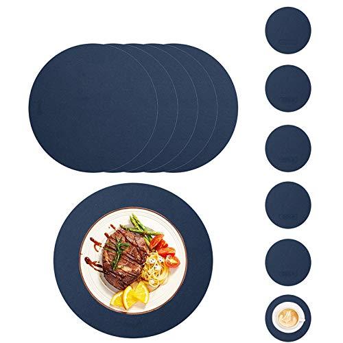 HAOXIANG Juego De 6 Manteles Individuales Y Posavasos, Impermeable Redondo PU De Imitación De Cuero Resistente Al Calor Mantel Individual 6 Tapetes / 6 Posavasos para Comedor En Casa - Azul
