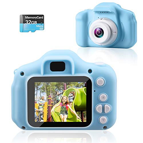 Looffy Kids Camera,Children Digital Cameras with 2 Inch IPS Screen and 32GB SD Card,HD Digital Video Cameras for Toddler, Best Birthday Gift for 3-10 Years Girls Boys (Bule)