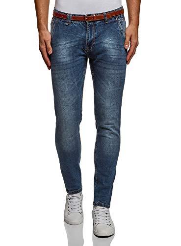 oodji Ultra Uomo Jeans Slim Fit Basic, Blu, 34W / 34L