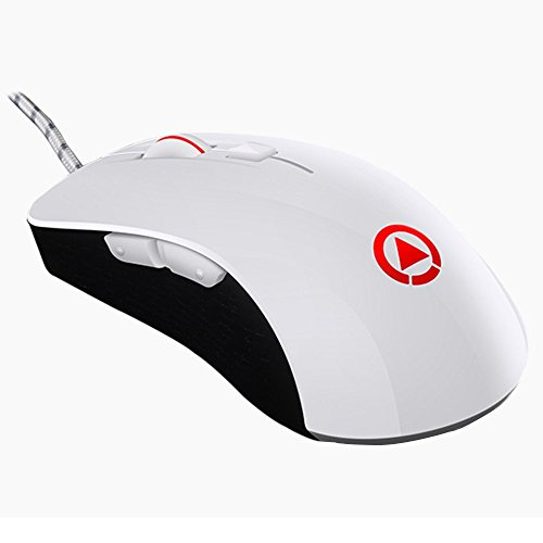 LexonElec G402 Gaming Mouse Wired [4000 DPI] [Programmable] [ RGB LED Backlight] Silent Optical Usb Ergonomic Game Computer Mice with 7 Buttons for PC, Pro Gamer (White)