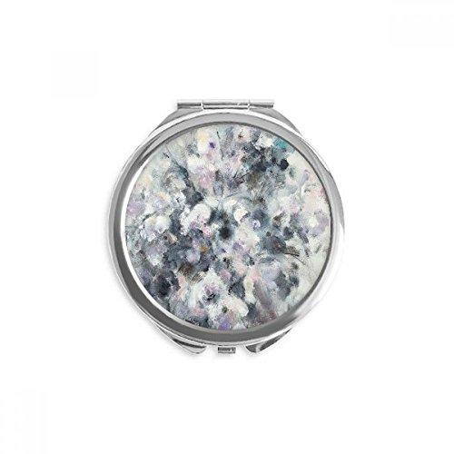 DIYthinker huile d'hiver art peinture nature morte de fleurs miroir rond maquillage de poche à la main portable 2,6 pouces x 2,4 pouces x 0,3 pouce Multicolore