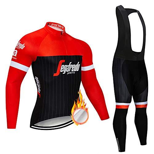 ZDFLC Ciclismo para Hombre de Manga Larga, Jersey de Ciclismo de Lana térmica de Invierno y Pantalones con Peto para el Equipo Profesional