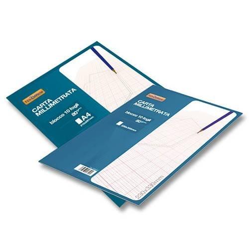 Blocco da 10 Fogli di Carta Millimetrata A4 NikOffice