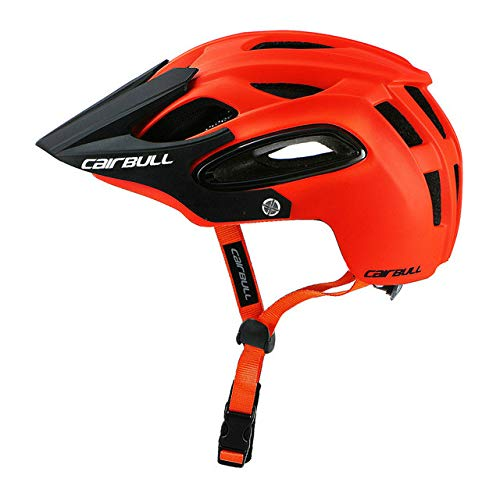 Fahrradhelm mit Sonnenbrille In-Mould Road Mountainbike Helm Sport Belüfteter Reitradhelm-Orange-1-M(54-58)