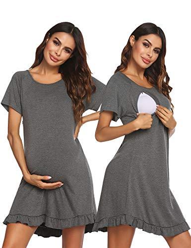 Ekouaer Women's Nursing Delivery Labor Nightgown Scoopneck Short Sleeve Maternity Nightdress Sleepwear (Grey,M)