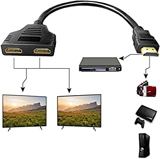 HDMI Splitter Adapter Cable,Adaptermvp HDMI Splitter 1 in 2 Out - HDMI Cable 1080P Male to Dual HDMI Female 1 to 2 Way HDM...