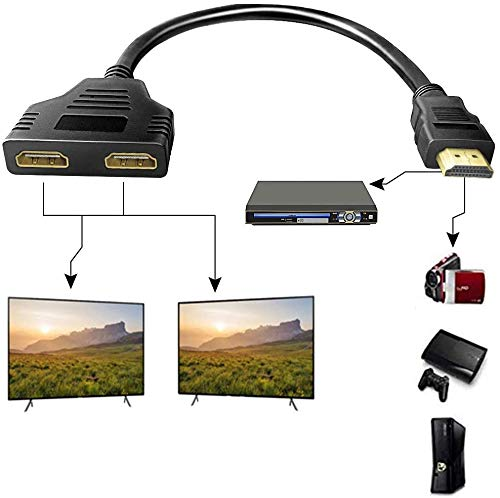 HDMI Splitter 1 in 2 Out,HDMI Cable 1080P Male to Dual HDMI Female,Multimedia Interface HDMI Splitter Adapter 1 to 2 Way for HDMI HD, LED, LCD, TV