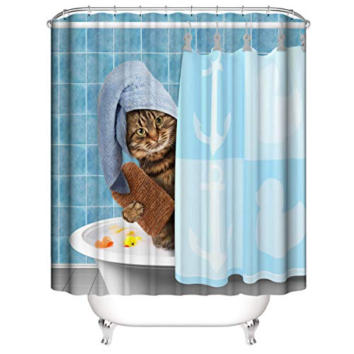 A&S Creavention Funny Cat Shower Curtain, 70' x 70' Standard Size, 1pc (in Shower)