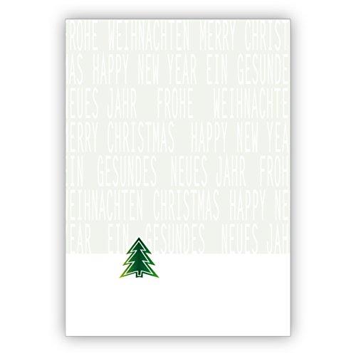 Elegante kerstkaart met internationale kerst en nieuwjaar felicitaties en kerstboom • uw individuele kerstpost met envelop voor Nieuwjaar, oudejaarsavond voor familie en bedrijf 4 Weihnachtskarten