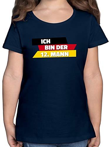 Fußball-Europameisterschaft 2020 Kinder - Ich Bin der 12. Mann Deutschland WM - 116 (5/6 Jahre) - Dunkelblau - wm 2018 mädchen - F131K - Mädchen Kinder T-Shirt