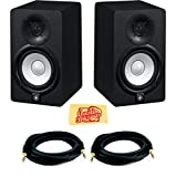 Yamaha HS5 Powered Studio Monitor Pair Bundle with Two Monitors, TRS Cables, and Austin Bazaar Polishing Cloth