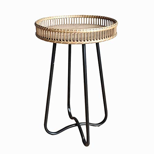 HANSHAN Side Table, Wrought Iron Rattan Compile Leisure Small Round Table Living Room Sofa Coffee Table Rack Bedroom Bedside Table 2 Size (Size : 15 × 24inch)