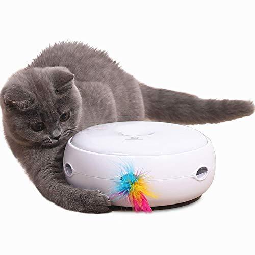 Lampop Katzenspielzeug Elektrisch Spielzeug mit Feder interaktives Spielzeug für Katzen, Automatisch Rotierend Federspielzeug, Intelligenzspielzeug, Katzenspiel (Inklusive Batterie, Ersatz Feder)