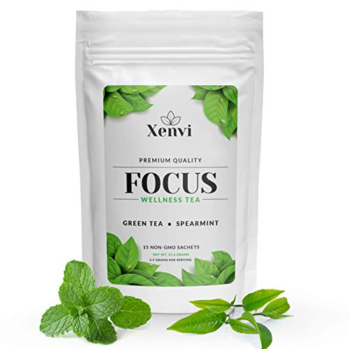Xenvi Focus Green Tea with Organic Spearmint, Ginger, Guarana Seed, Cardamom, For Natural Energy and Concentration, Made in USA, 15 Non-GMO Pyramid Sachets (Mint Ginger)