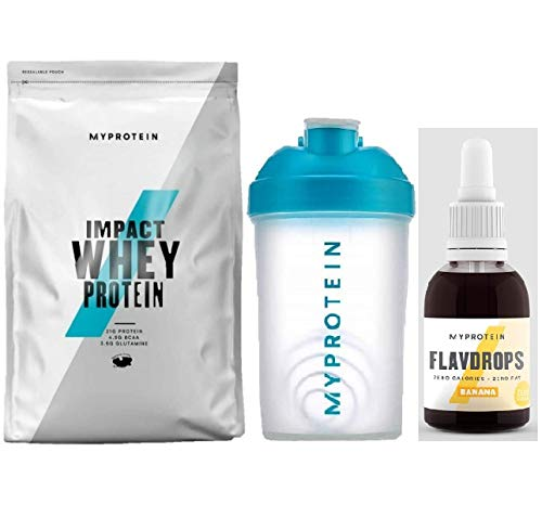 My Protein Impact Whey Protein 1kg and Flavdrops 50ml Banana Flavour with Mini Shaker Bundle Perfect for Everyday Delicious Protein You Need