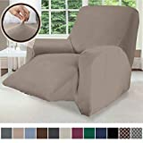 Gorilla Grip Original Fitted Velvet 1 Piece Large Recliner Protector for Seat Width to 28 Inch, Stretchy Furniture Slipcover, Fastener Straps, Spandex Reclining Chair Cover Throw for Pets, Beige