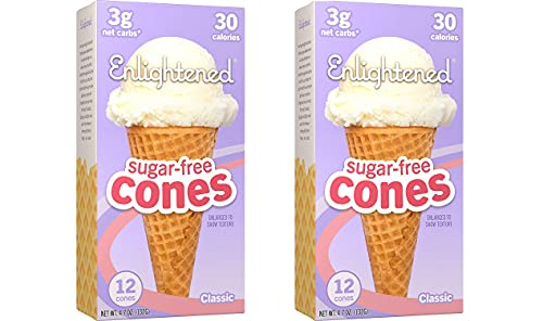 ICE CREAM Sugar-Free Ice Cream Cones - Vegan Friendly, Sugar Free, Dairy Free - Low Calorie (30 Calories) - Low Carb (Net 3g) - 2 Pack of 12 Cones Each