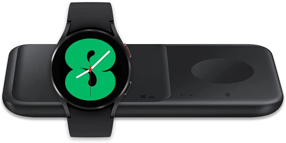 Samsung Galaxy Watch 4 44mm Smart Watch Bluetooth - Black (US Version) with SAMSUNG Wireless Charger Fast Charge Pad Duo (2021),Black