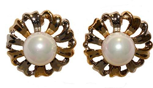 Ohrclips rund in Blütenform silber- und goldfarben mit weißer Glasperle 061-00047