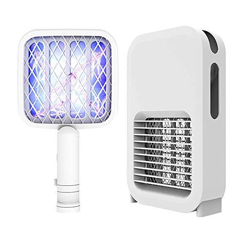 SDlamp Paquete De 2 2 En 1 Lámpara Eléctrica para Trampas De Insectos para Matar Moscas, Lámpara para Matar Mosquitos Recargable, Linterna para Acampar Matamoscas De Raqueta, para Interiores