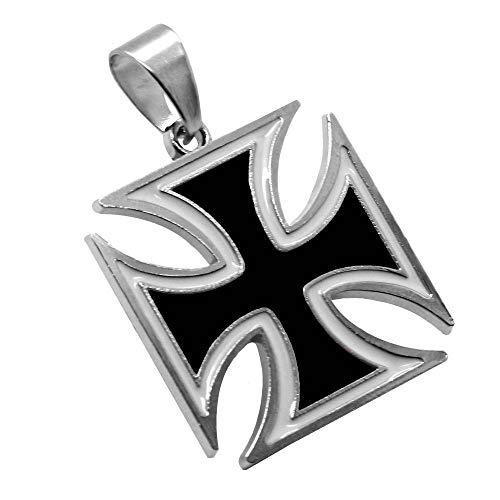 tumundo 1 Kettenanhänger Eisernes Kreuz Anhänger Iron Cross Halskette Panzerkette Königskette Schwarz Herrenschmuck