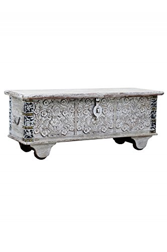 Orientalische Truhe Kiste aus Holz Daher 116cm White Wash   Vintage Sitzbank mit Aufbewahrung für den Flur   Aufbewahrungsbox mit Deckel im Bad   Betttruhe als Kissenbox oder Deko im Schlafzimmer
