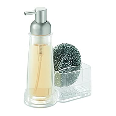 InterDesign Clarity Soap Dispenser Pump and Sponge & Scrubber Caddy - Kitchen Sink Organizer, Clear/Brushed