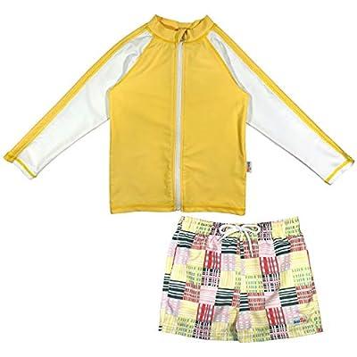 SwimZip Boys Long Sleeve Rash Guard & Swim Short Set UPF 50+   Madras Yellow 5T