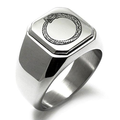 Stainless Steel Greek Mythology Ouroboros Symbol Engraved Square Flat Top Biker Style Polished Ring, Size S 1/2